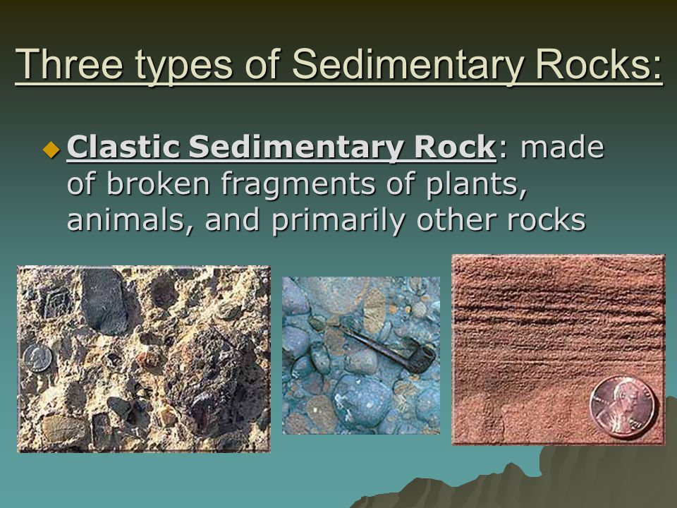 Three types of Sedimentary Rocks: