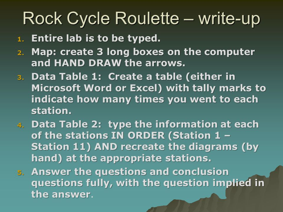 Rock Cycle Roulette – write-up
