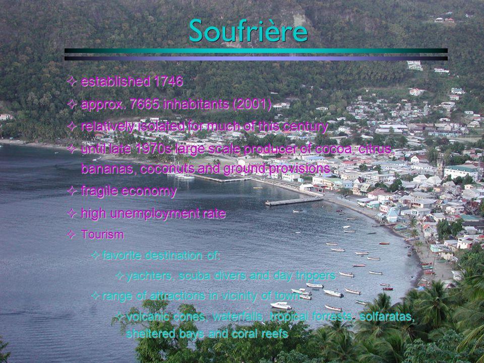 Soufrière established 1746 approx. 7665 inhabitants (2001)