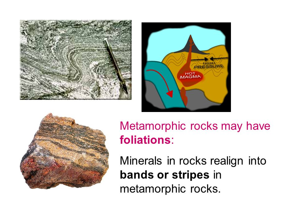 Metamorphic rocks may have foliations: