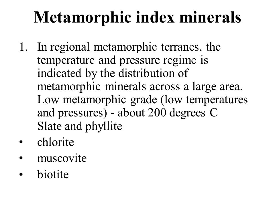 Metamorphic index minerals