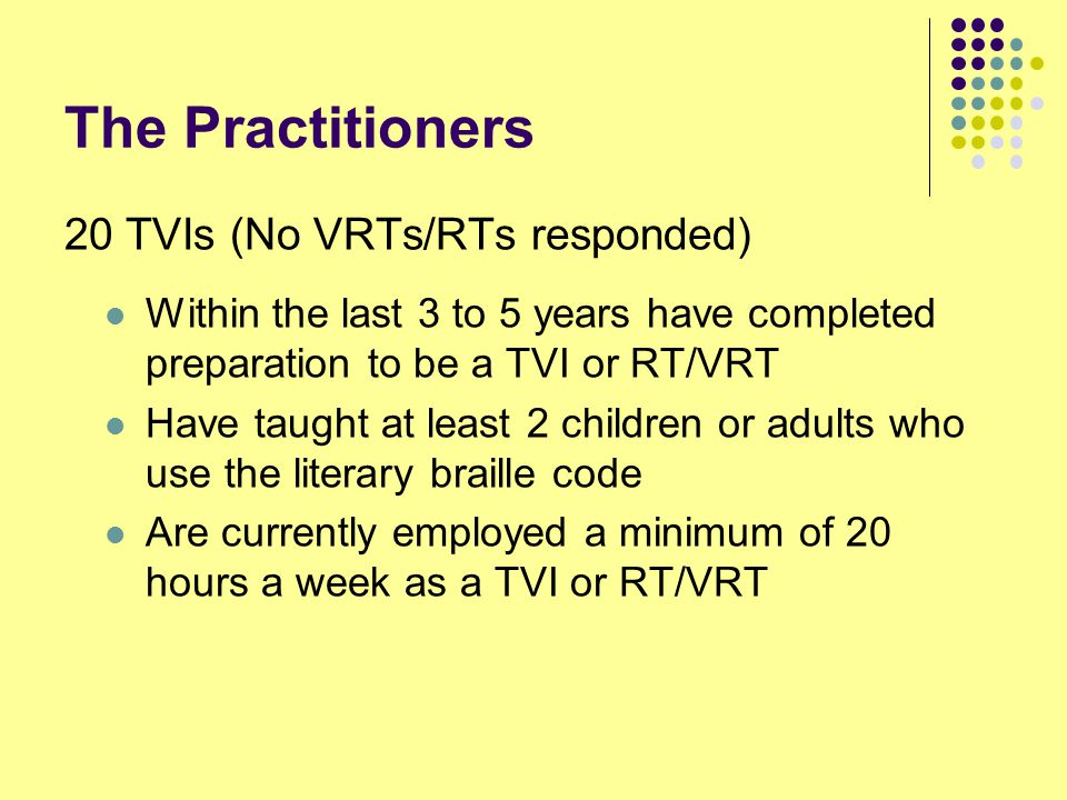 The Practitioners 20 TVIs (No VRTs/RTs responded)