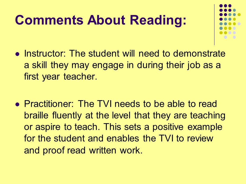 Comments About Reading: