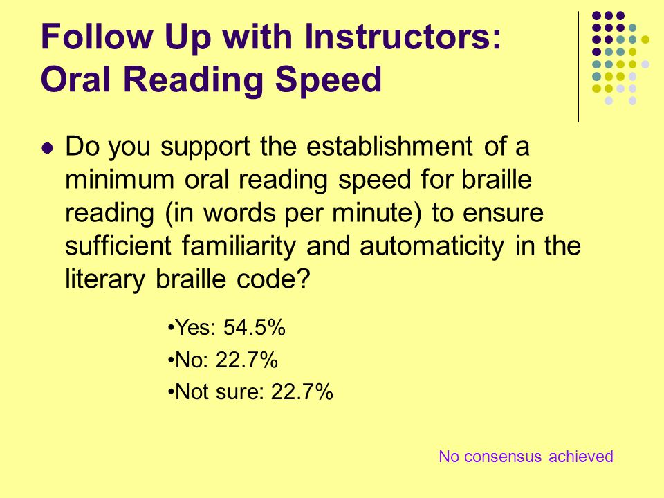 Follow Up with Instructors: Oral Reading Speed