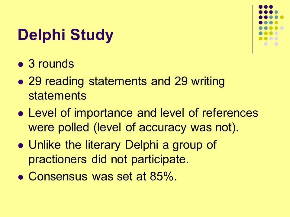 Delphi Study 3 rounds 29 reading statements and 29 writing statements