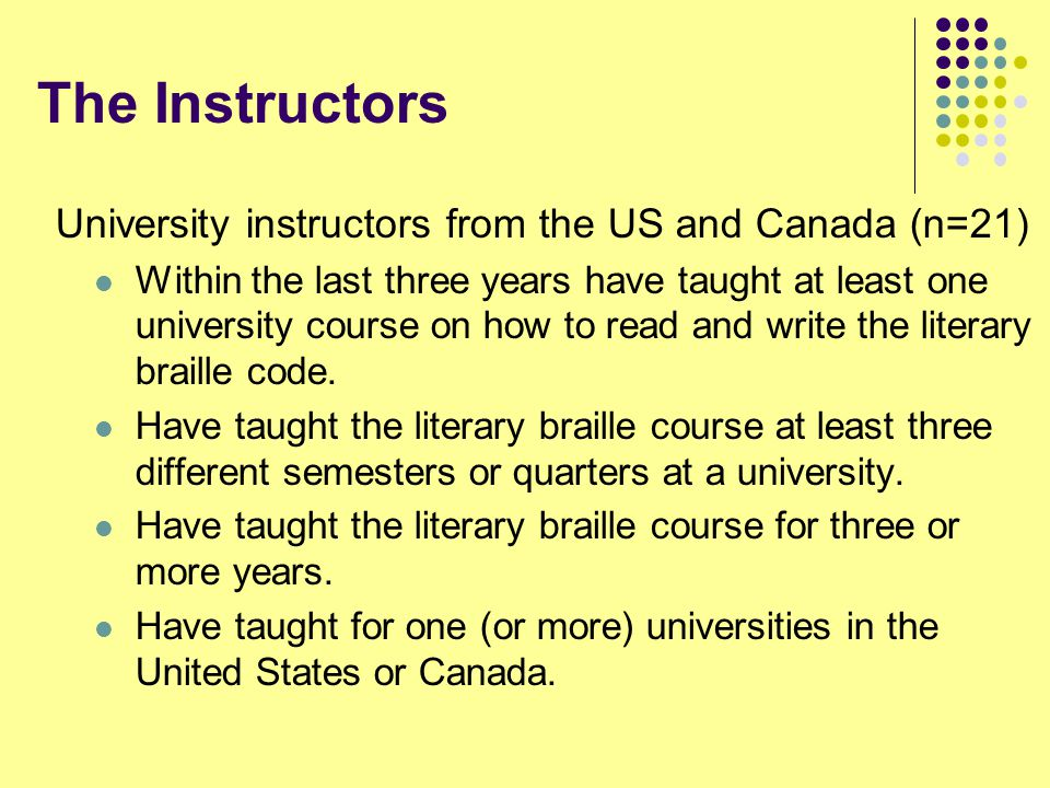 The Instructors University instructors from the US and Canada (n=21)