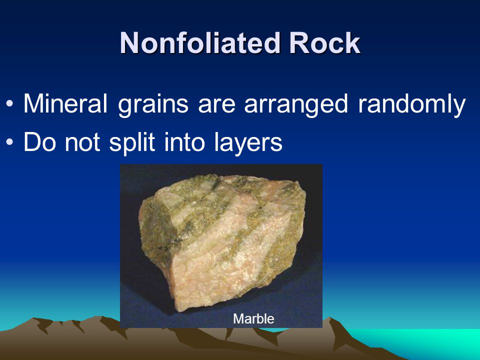 Nonfoliated Rock Mineral grains are arranged randomly