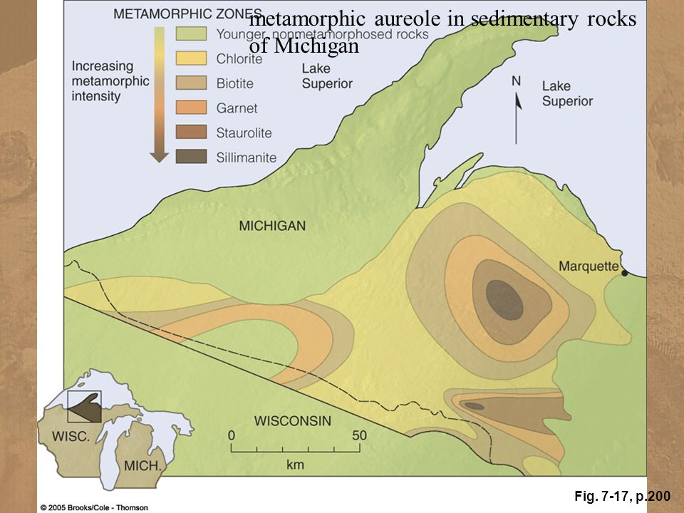 metamorphic aureole in sedimentary rocks of Michigan