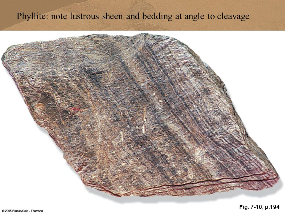 Phyllite: note lustrous sheen and bedding at angle to cleavage