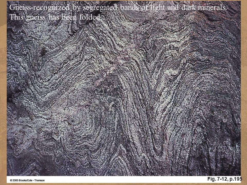 Gneiss-recognized by segregated bands of light and dark minerals