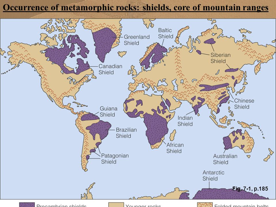 Occurrence of metamorphic rocks: shields, core of mountain ranges