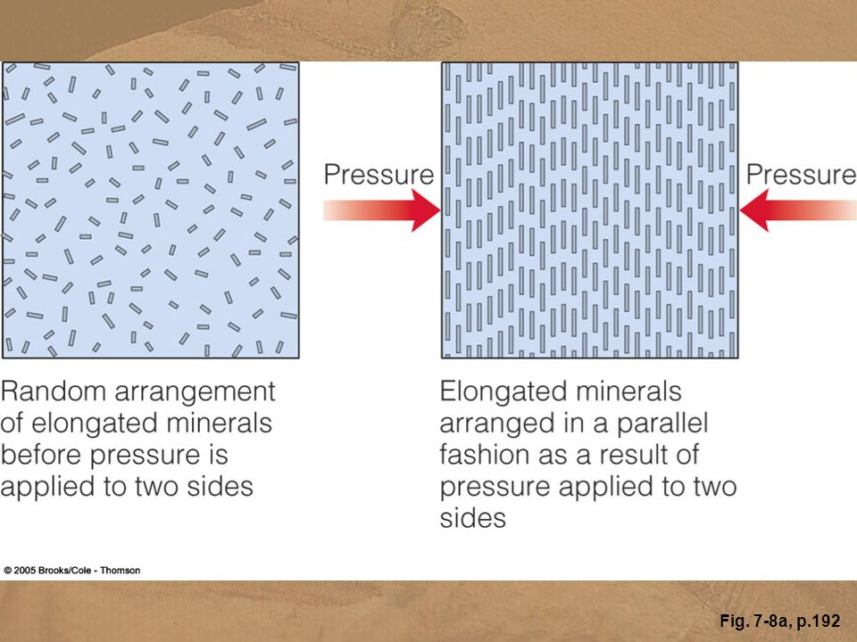 Figure 7.8 (a) When rocks are subjected to differential pressure, the mineral grains are typically arranged in a parallel fashion, producing a foliated texture.