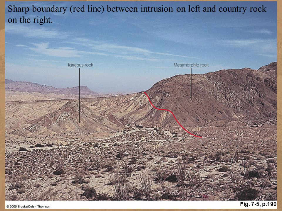 Sharp boundary (red line) between intrusion on left and country rock