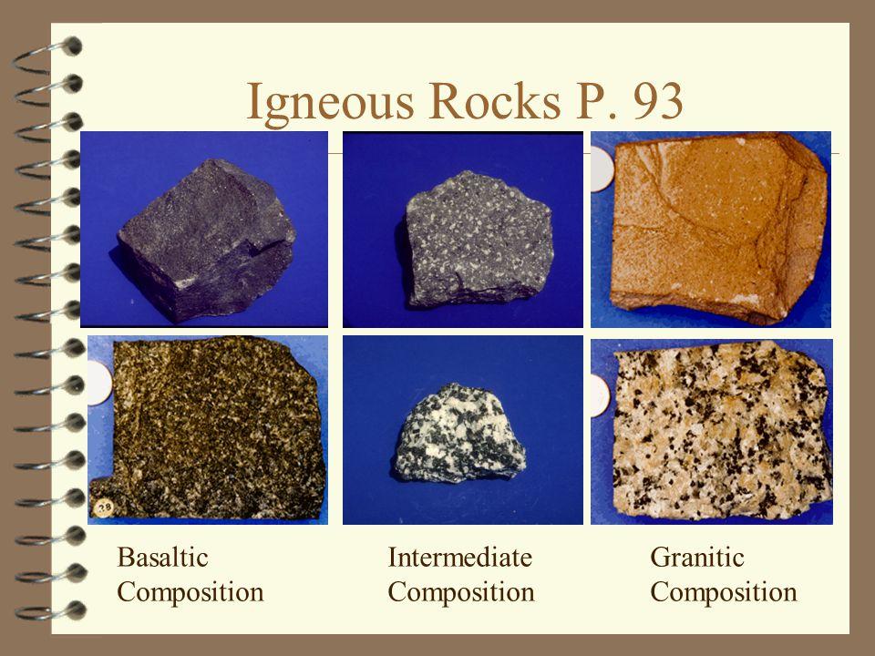 Igneous Rocks P. 93 Basaltic Composition Intermediate Composition