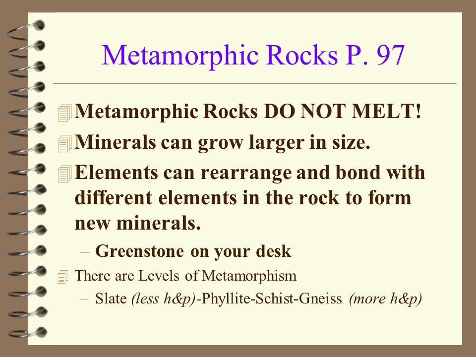 Metamorphic Rocks P. 97 Metamorphic Rocks DO NOT MELT!