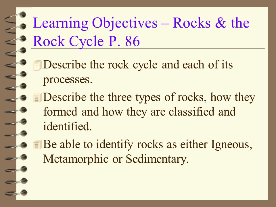 Learning Objectives – Rocks & the Rock Cycle P. 86