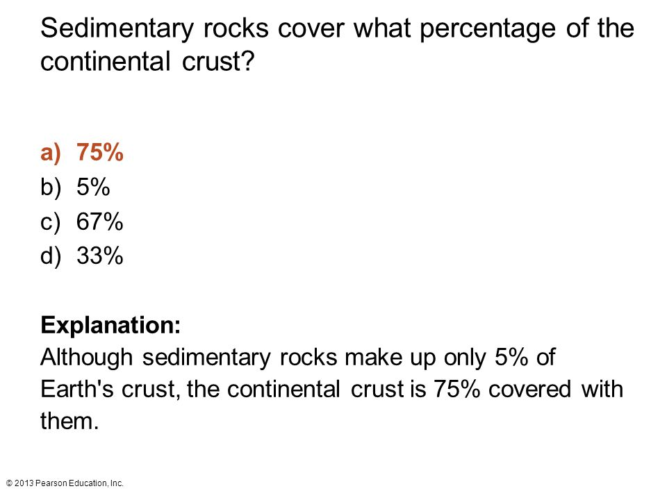 Sedimentary rocks cover what percentage of the continental crust