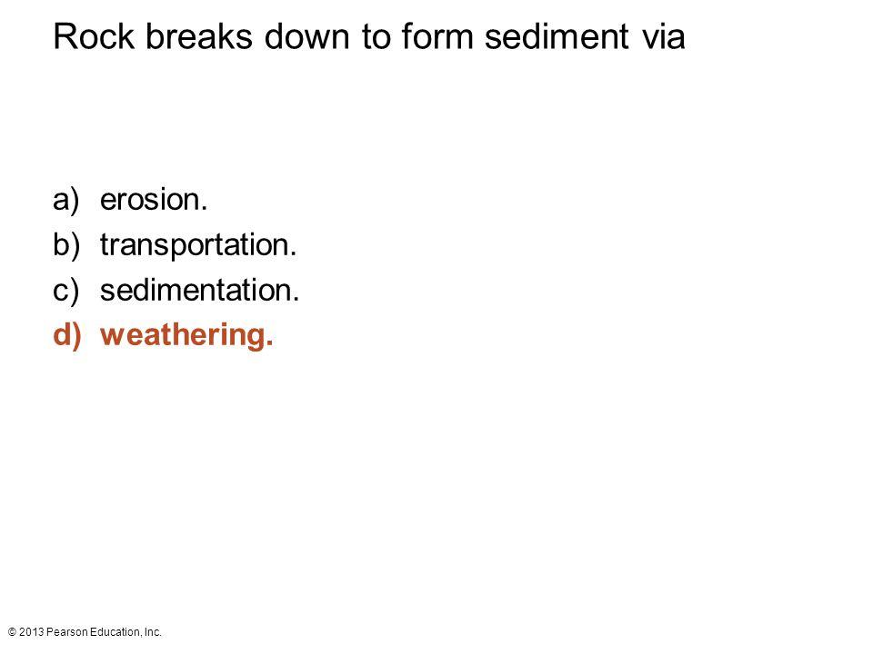 Rock breaks down to form sediment via