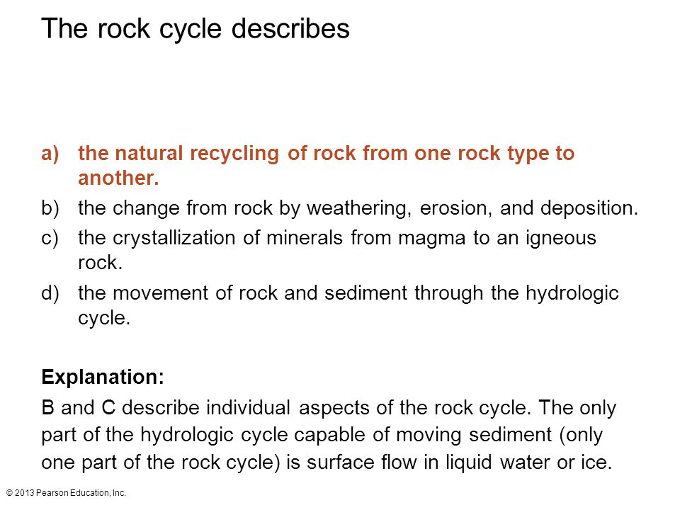 The rock cycle describes