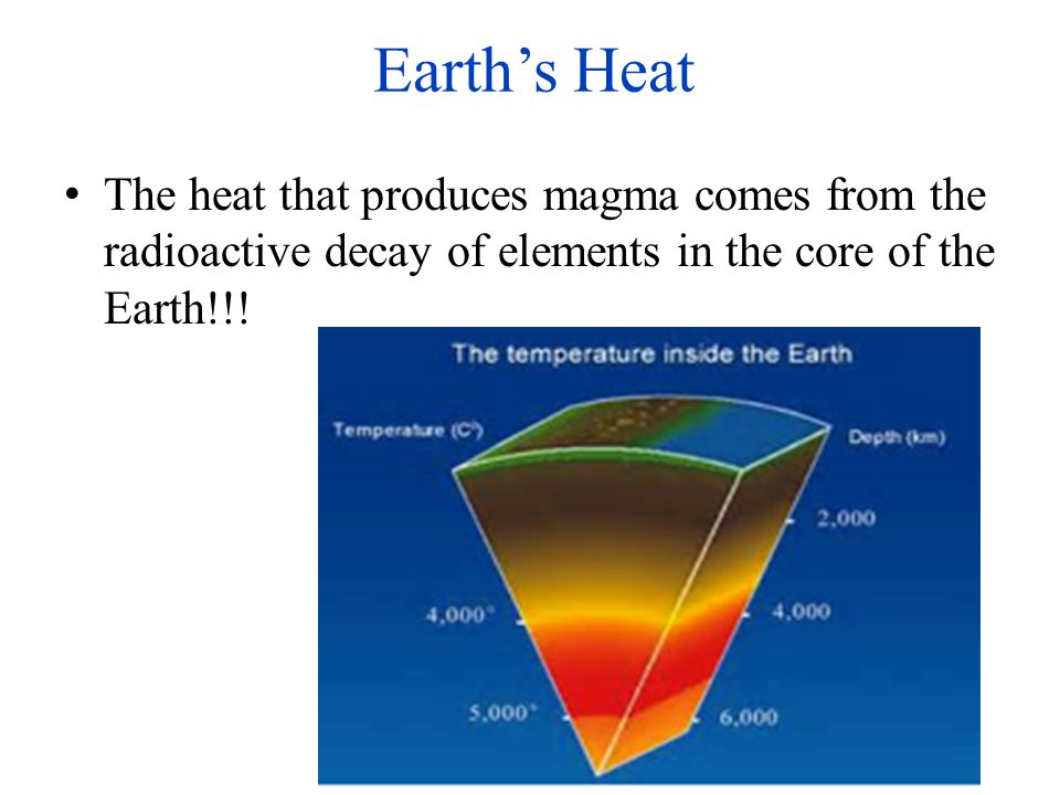 Earth's Heat The heat that produces magma comes from the radioactive decay of elements in the core of the Earth!!!
