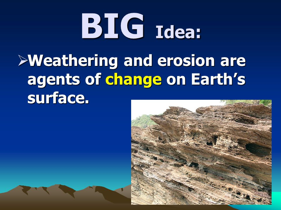 BIG Idea: Weathering and erosion are agents of change on Earth's surface.