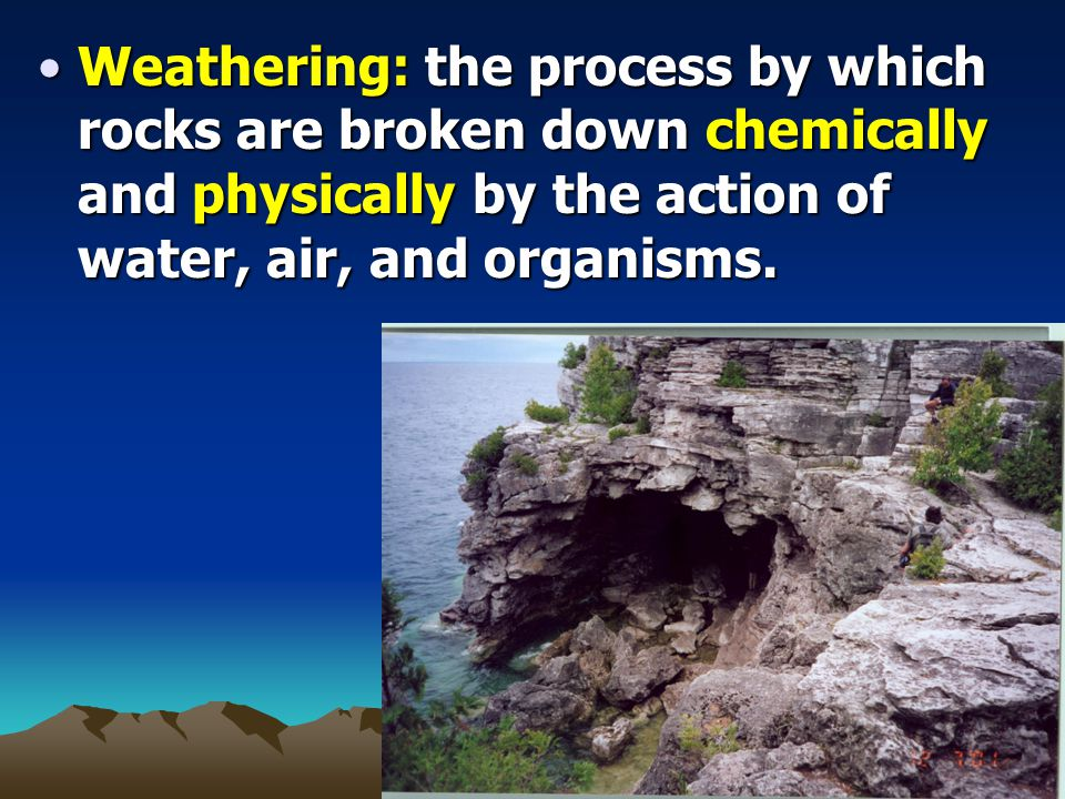 Weathering: the process by which rocks are broken down chemically and physically by the action of water, air, and organisms.