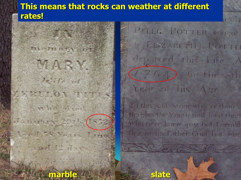 This means that rocks can weather at different rates!