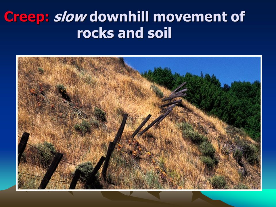 Creep: slow downhill movement of rocks and soil