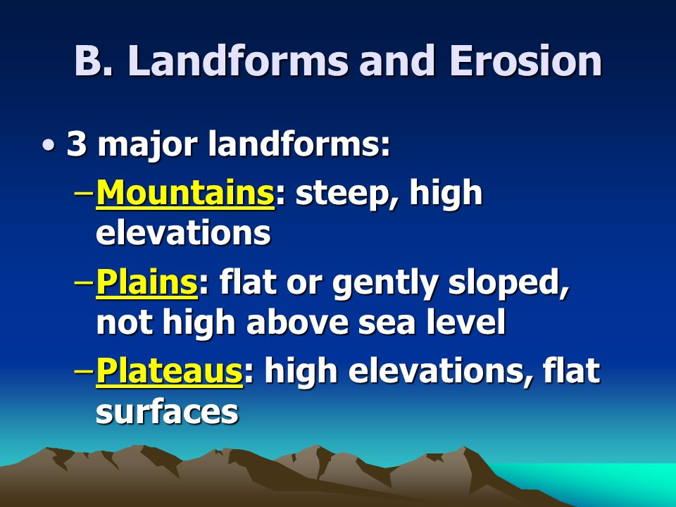 B. Landforms and Erosion