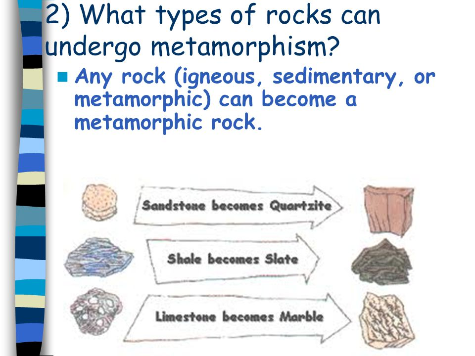 2) What types of rocks can undergo metamorphism