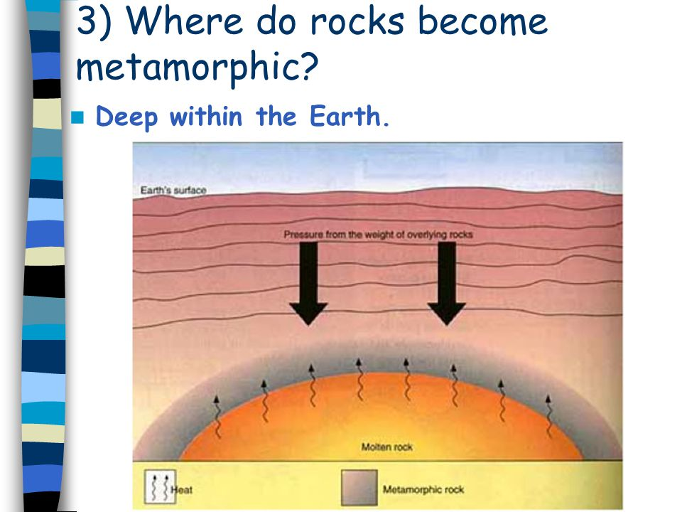 3) Where do rocks become metamorphic