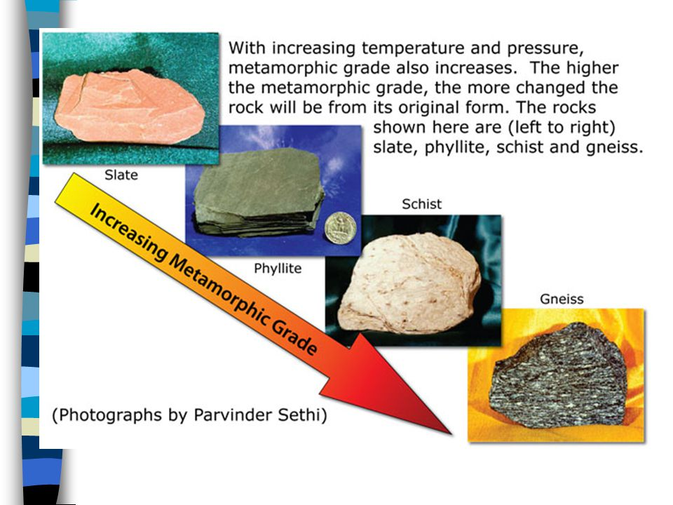 Click on link and scroll down for nice pictures of metamorphic rocks.