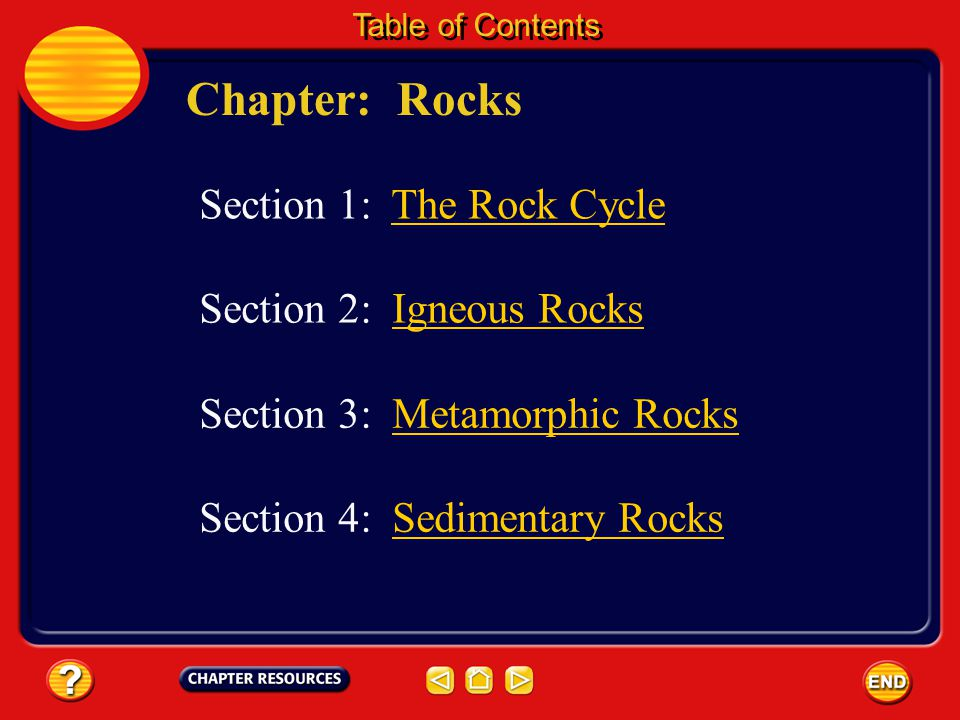Chapter: Rocks Section 1: The Rock Cycle Section 2: Igneous Rocks