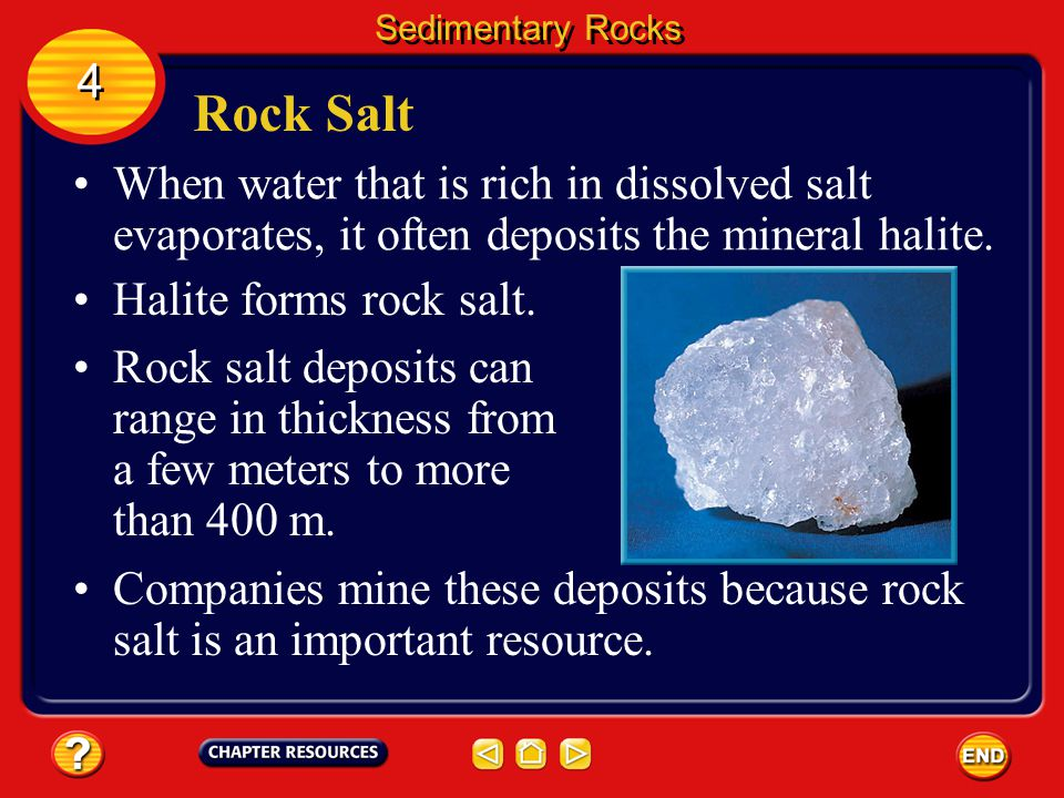 Sedimentary Rocks 4. Rock Salt. When water that is rich in dissolved salt evaporates, it often deposits the mineral halite.