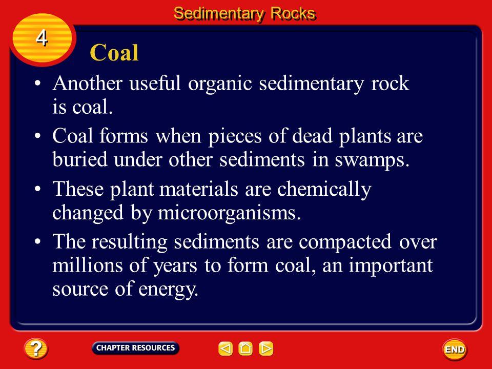 Coal 4 Another useful organic sedimentary rock is coal.
