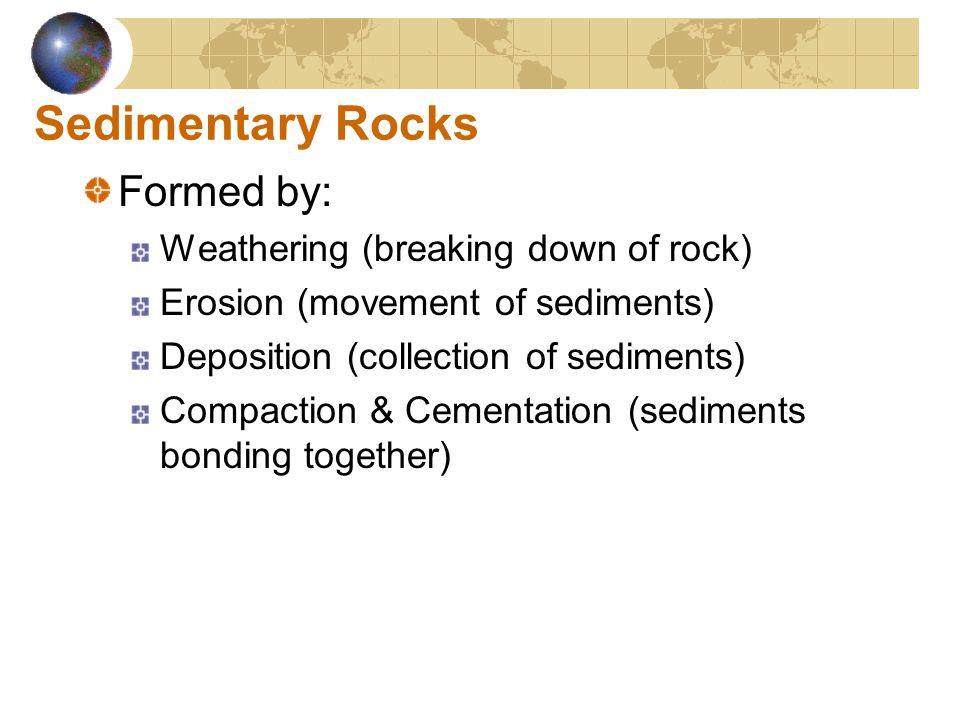 Sedimentary Rocks Formed by: Weathering (breaking down of rock)