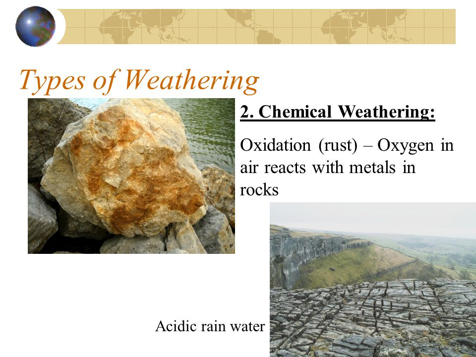 Types of Weathering 2. Chemical Weathering: