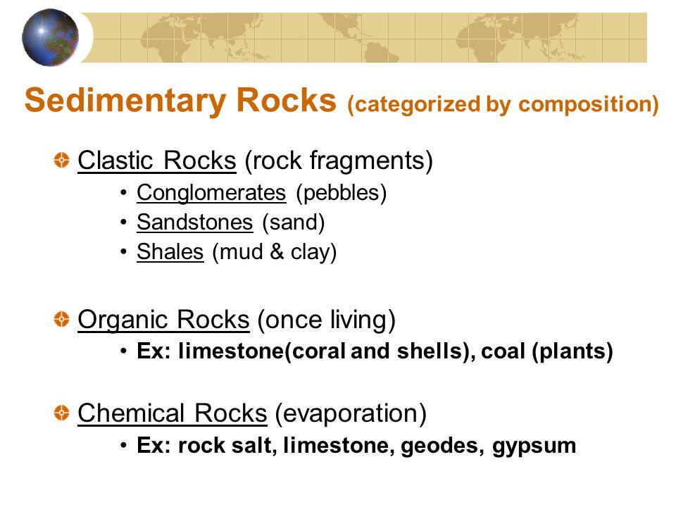 Sedimentary Rocks (categorized by composition)