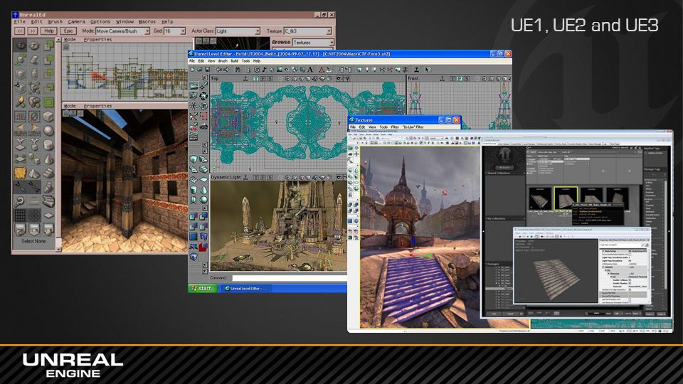 UE1, UE2 and UE3 In previous versions of Unreal Engine we used different third party UI frameworks, such as MFC, wxWidgets, Windows Forms and WPF.