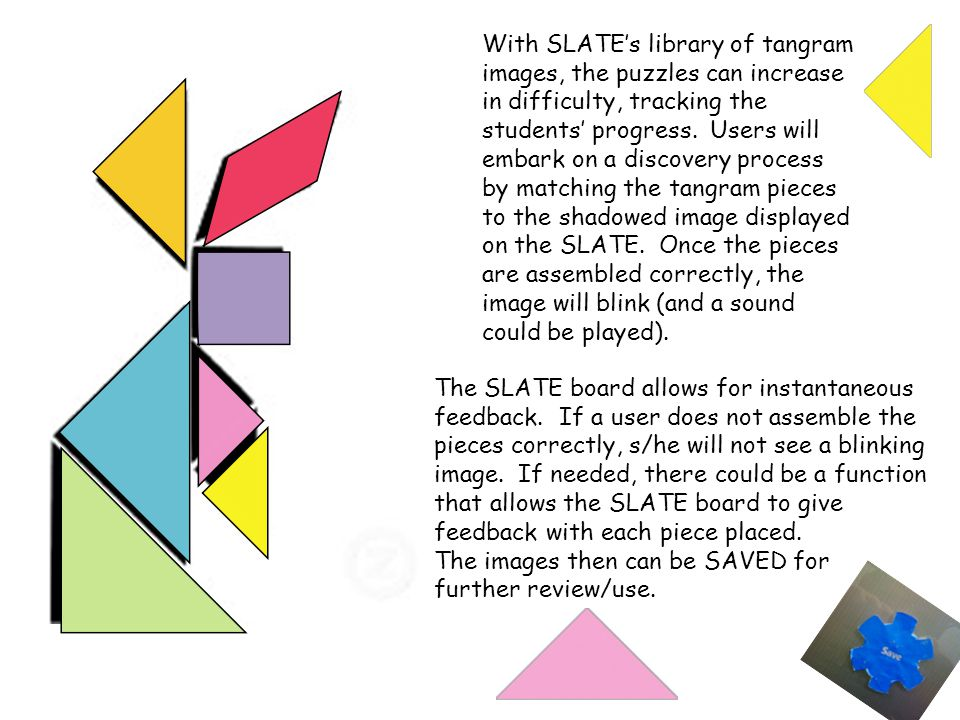 With SLATE's library of tangram images, the puzzles can increase in difficulty, tracking the students' progress. Users will embark on a discovery process by matching the tangram pieces to the shadowed image displayed on the SLATE. Once the pieces are assembled correctly, the image will blink (and a sound could be played).