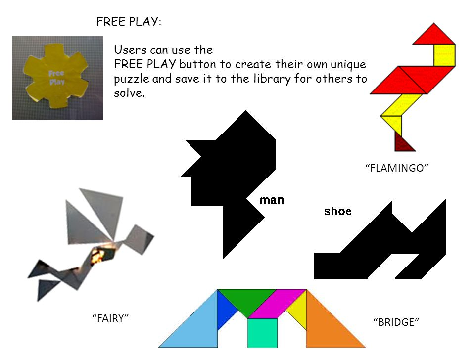 FREE PLAY: Users can use the. FREE PLAY button to create their own unique puzzle and save it to the library for others to solve.