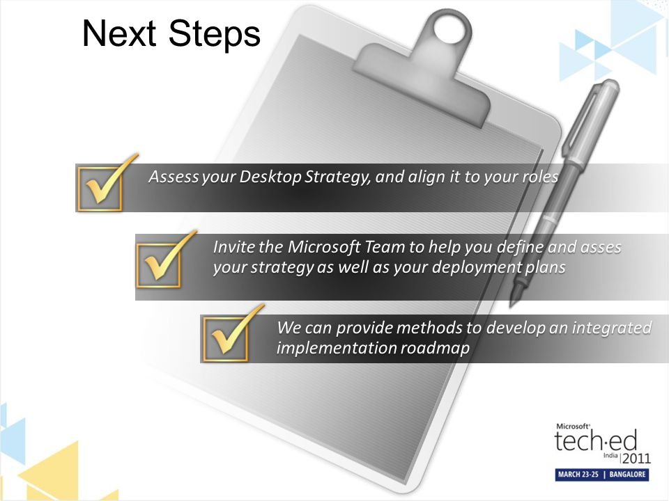 Next Steps Assess your Desktop Strategy, and align it to your roles