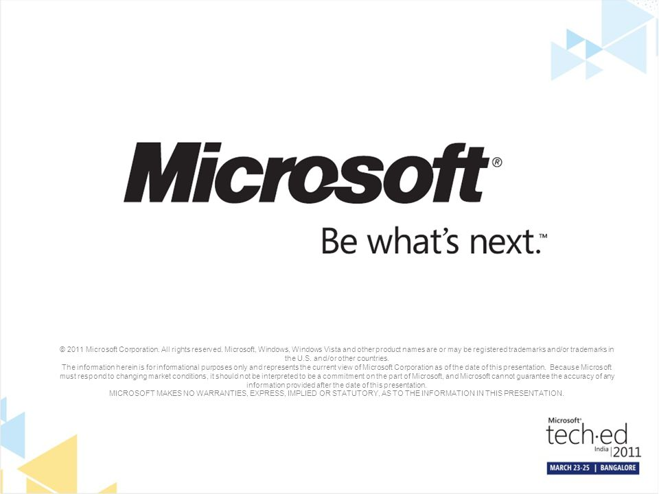 © 2011 Microsoft Corporation. All rights reserved