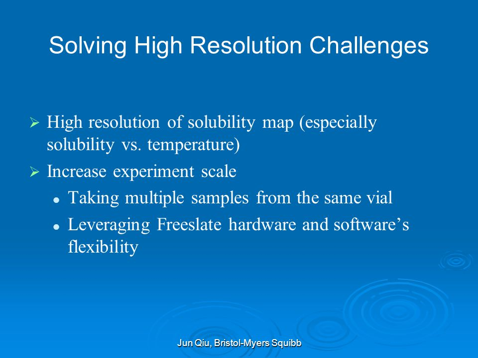 Solving High Resolution Challenges