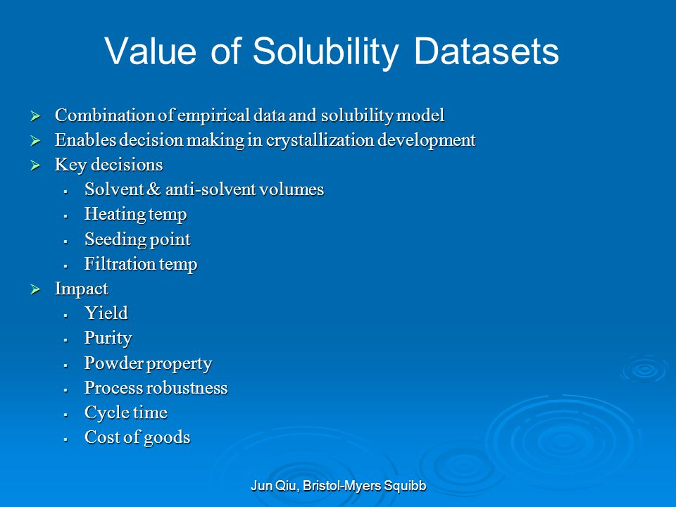 Value of Solubility Datasets