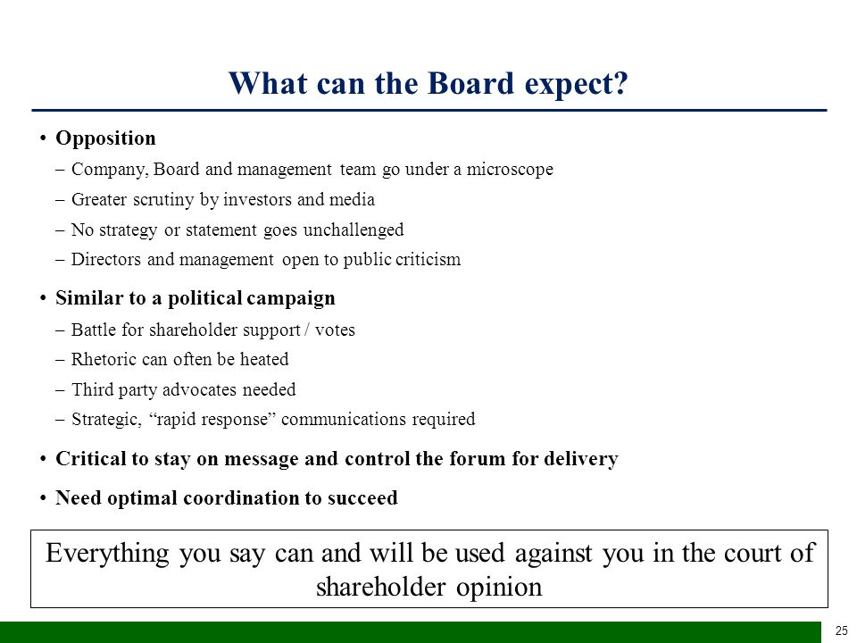 What can the Board expect (cont'd)