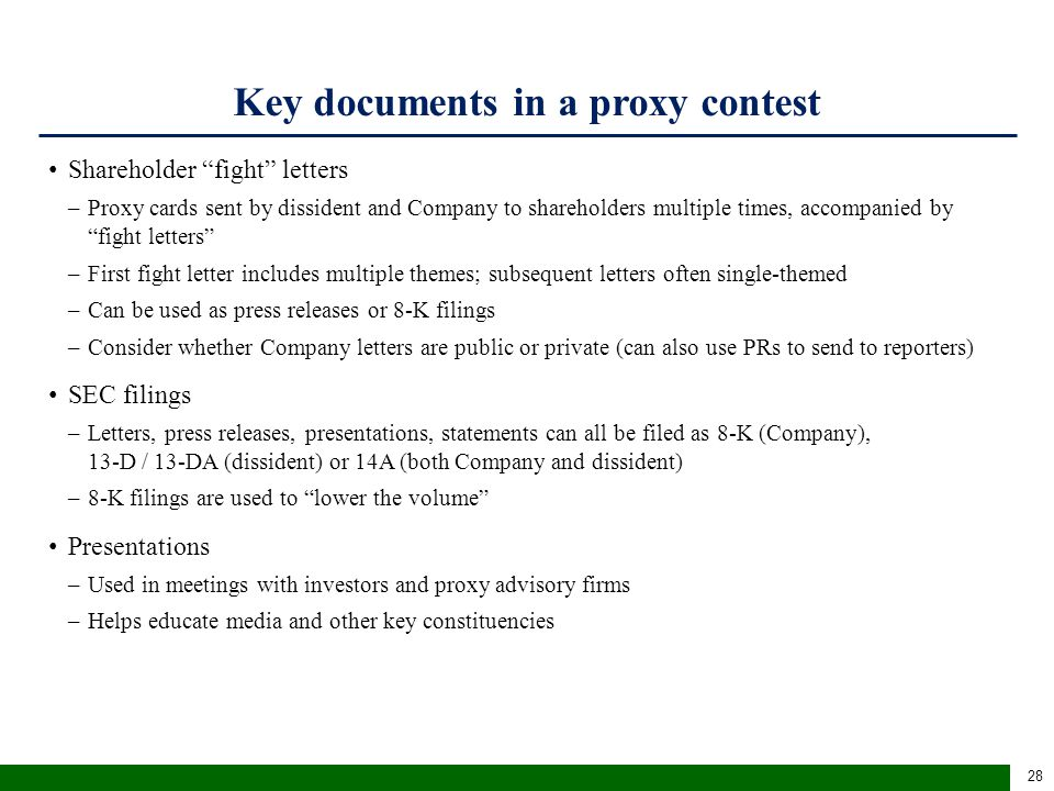 Key documents in a proxy contest (cont'd)