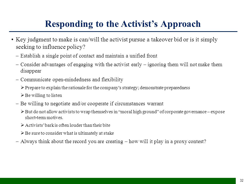 Fiduciary Responsibilities of a Board When Responding to Activists