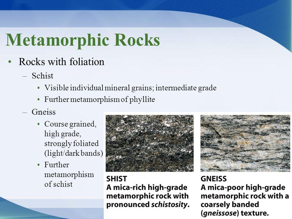 Metamorphic Rocks Rocks with foliation Schist Gneiss