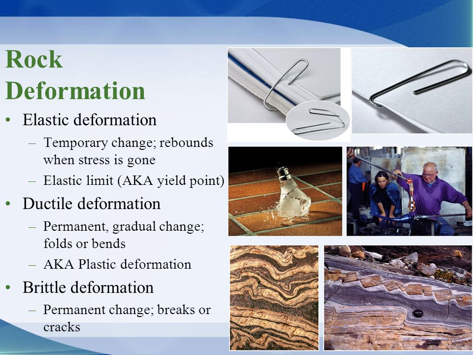Rock Deformation Elastic deformation Ductile deformation
